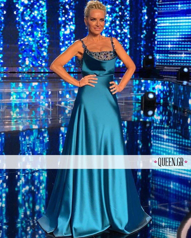 YFSF: Το πετρόλ φόρεμα της Μαρίας Μπεκατώρου είναι ό,τι πιο αιθέριο θα δεις σήμερα