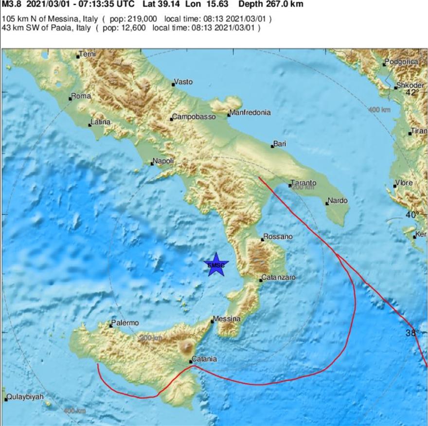 Σεισμός 3,8 Ρίχτερ στη νότια Ιταλία – Δείτε χάρτη με το επίκεντρο