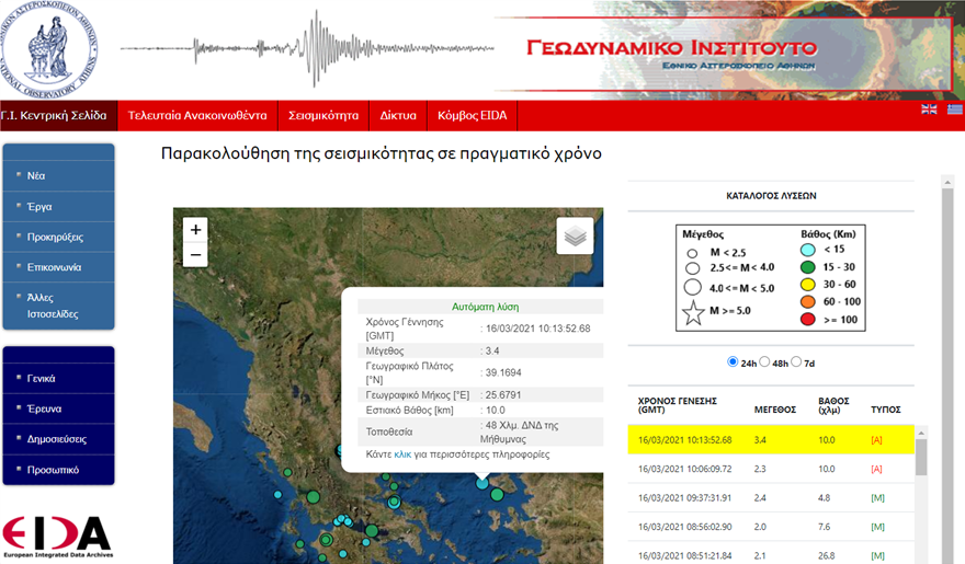 Σεισμός τώρα 3,4 Ρίχτερ στα δυτικά της Μήθυμνας Λέσβου
