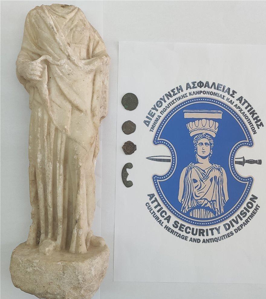 Κορινθία: Προσπάθησε να πουλήσει άγαλμα της θεάς Υγείας και αρχαία νομίσματα αντί €80.000