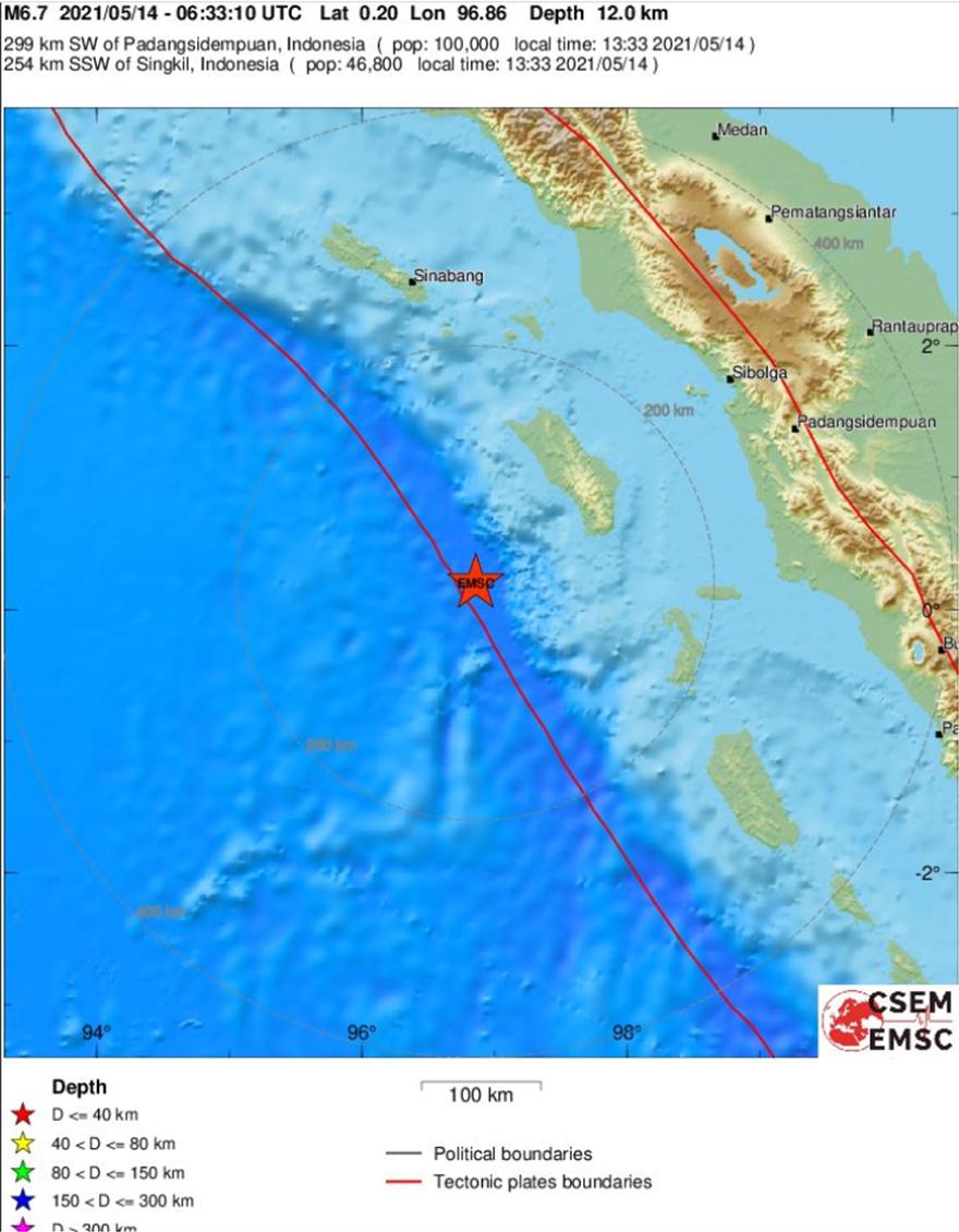 Σεισμός τώρα 6,7 Ρίχτερ στην Ινδονησία, στη βορειοδυτική ακτή του νησιού Νίας