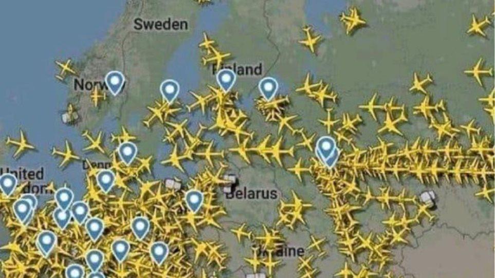 Δείτε φωτογραφία: To «μποτιλιάρισμα» στο FIR της Λευκορωσίας μετά το αεροπορικό εμπάργκο