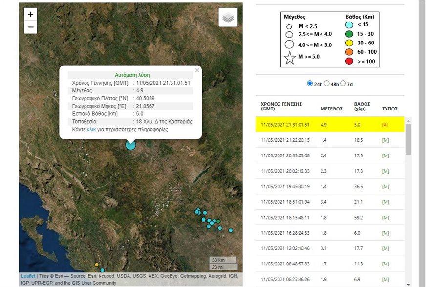 Δυνατός σεισμός 4,9 Ρίχτερ ταρακούνησε την Καστοριά