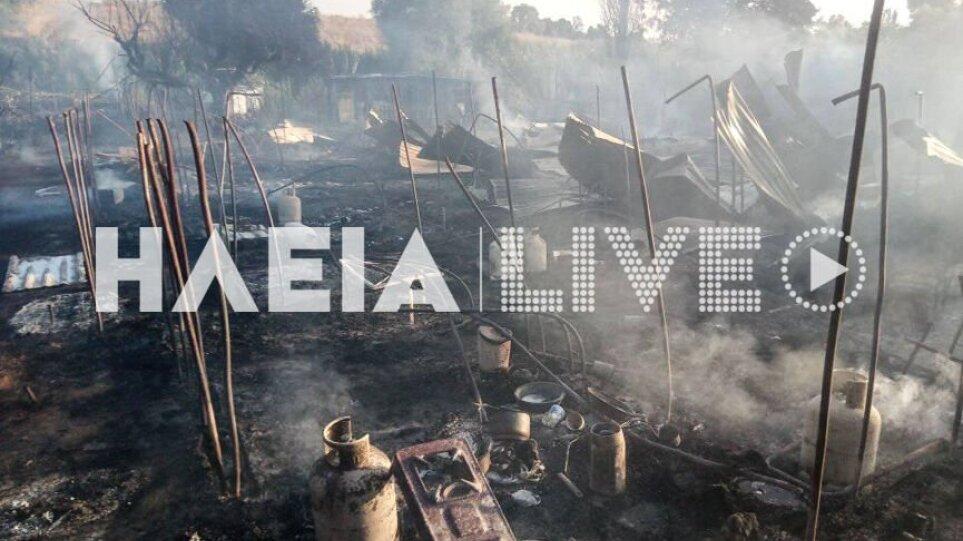 Νέα Μανωλάδα: Φωτιά σε παραπήγματα – Εκρήξεις από φιάλες υγραερίου (βίντεο – φωτογραφίες)