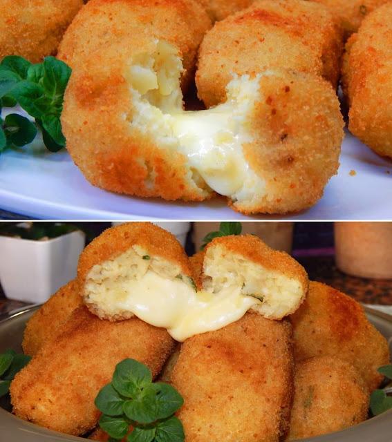 Πατατοκεφτέδες γεμιστοί  με τυρί!!!