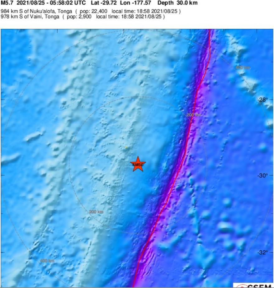 Σεισμός τώρα 5,7 Ρίχτερ στα νησιά Κερμάντεκ στη Νέα Ζηλανδία