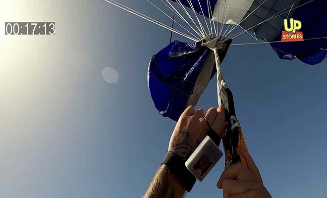 Αλεξιπτωτιστής, γνωστός από το Nomads, προσπαθεί να ξεμπλέξει το αλεξίπτωτο στον αέρα