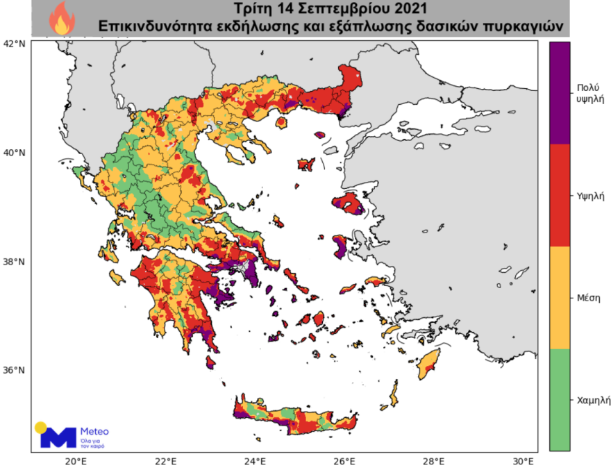 Ο καιρός σήμερα: Ισχυροί άνεμοι και μεγάλος κίνδυνος για φωτιές – Δείτε χάρτες του meteo