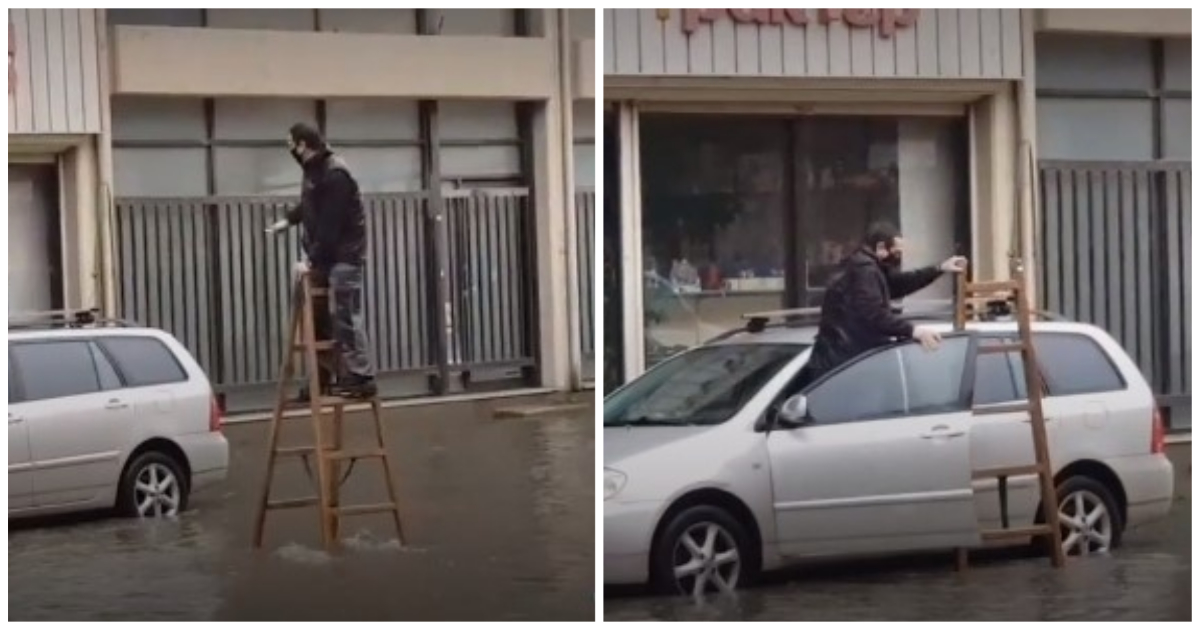 Θεσσαλονικιός πήγε με ξυλοπόδαρα στο αυτοκίνητό του για να αποφύγει το «ποτάμι» λόγω της νεροποντής
