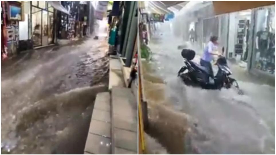 """Η κακοκαιρία """"Μπάλλος"""" μετέτρεψε την οδό Ηφαίστου στο Μοναστηράκι σε ποτάμι – Δείτε βίντεο"""