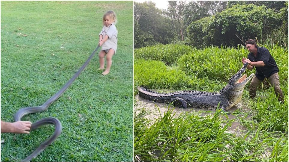 Χαμός στην Αυστραλία με «κροκοδειλάκια» που βάζει το γιο του να… παίζει με τεράστιο φίδι – Δείτε βίντεο